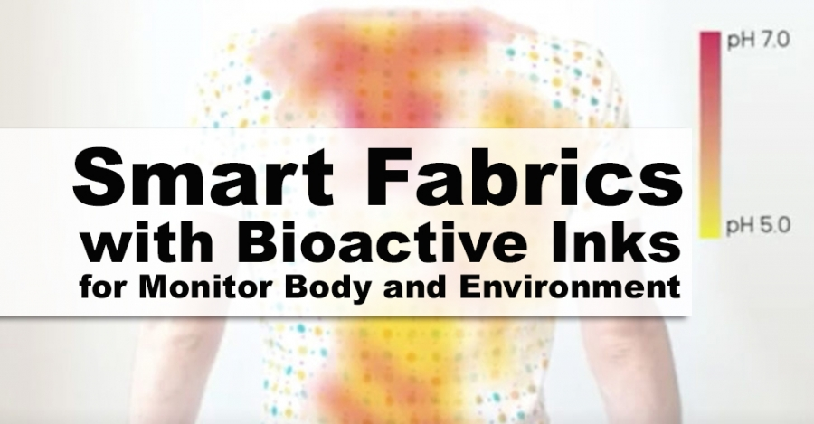 Smart fabrics with bioactive inks monitor body and environment by changing color
